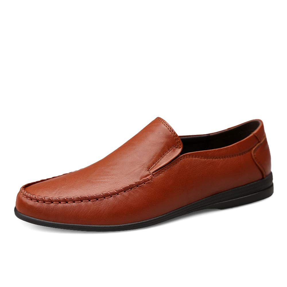 Reddish Brown Mens loafers Flats Men's Genuine Leather Driving Dress shoes Casual Breathable Penny Loafers Light-Weight Flat Lined Slip On Round Toe (color   Reddish Brown, Size   6.5 UK)