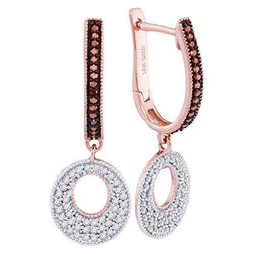 10kt Rose Gold Womens Round Red Color Enhanced Diamond Circle Dangle Hoop Earrings 3/8 ()