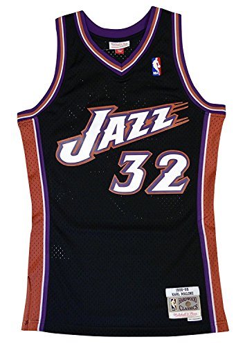 Mitchell & Ness Utah Jazz Karl Malone Swingman Jersey NBA Throwback Black - Jersey Malone
