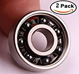 Mini Skater Hybrid Ceramic Premium Bearings,Not include Double Shield,Use for Tri-Spinner Fidget Toy and Premium Quality EDC Focus Toy and More.(2 Pcs,Black Ball)