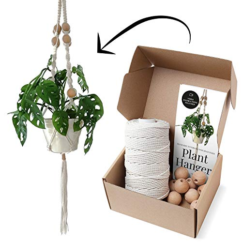 Diy Plant Hanger (Macrame Kits for Adults Beginners, Best for Macrame Plant Hanger, Macrame Wall Hanging Kit, Macrame DIY Kit. Includes 3mm Cotton Rope, 30mm Beads and Easy-to-Follow DIY Beginner's Guide by)