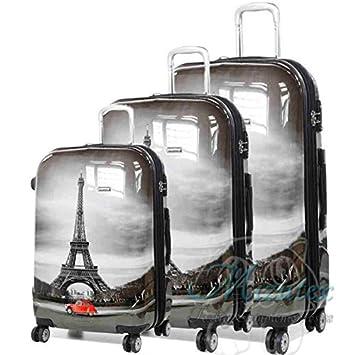 Set de maletas de viaje Paris, ABS 4 ruedas trolley. Oferta 3 unidades.: Amazon.es: Equipaje