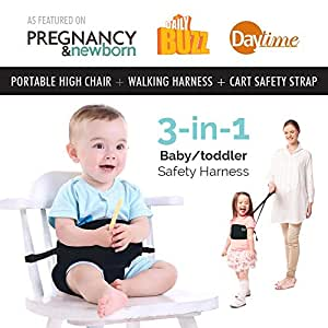 Portable High Chair by Lucky Baby. 3-in-1 Toddler & Baby Harness + Space Saver High Chair + Grocery Cart Safety Strap. The Only Baby Accessory you Need! Perfect for Restaurants/ Travel. Black