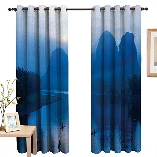 (Blackout Lined Curtains Asian,Sunrise with Bamboo Raft at Yangshuo on Li River China Fishing Boat Scenic Mist,Royal Blue Aqua.jpg,Thermal Insulated,Grommet Curtain Panel Set of 2 54