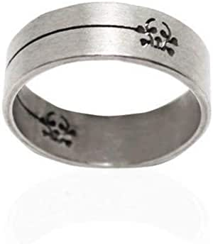 Steel Ring decorated with pirate symbol