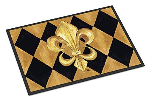 Black Fleur De Lis - Caroline's Treasures Black and Gold Fleur De Lis New Orleans Indoor or Outdoor Doormat, 24