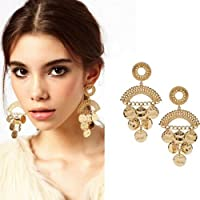 National Style Womens Round Gold Wafer Long Dangle Statement Fashion Earrings