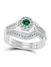 1.00 CT Lab Created Green Emerald Round Shape 14k White Gold Plated Halo Style Wedding Engagement Bridal Set Ring Ladies