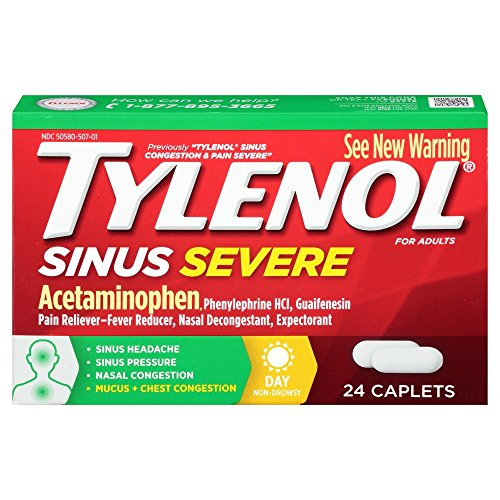 - Tylenol Sinus Severe Caplets Day - 24 ct, Pack of 4