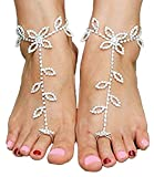 1 Pair Women's Foot Chain Barefoot Sandals Beach Wedding Jewelry Anklet with Rhinestone Toe Ring