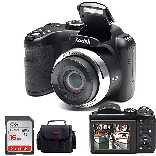 Kodak PIXPRO AZ252 Point & Shoot Digital Camera with 3″ LCD (Black) and 16GB SD Card and Case