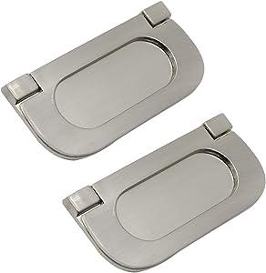 "Yoohey 2 Pack Modern Cupboard Drawer Flush Mount Door Pull Handle 2-9/10"" Zinc Alloy Satin Nickel Flush Recessed Handle for Cabinet Kitchen Furniture, Silver"