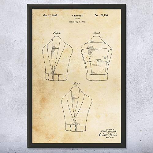 Framed Albert Einstein Blouse Print, Fashion Designer, Famous Scientist, Noble Prize Winner, Historic Inventions Vintage Paper (9