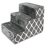 Best Pet Supplies 3-Step Foldable CertiPUR-US Certified Foam Pet Stairs/Steps, 21 x 16 x 16.5-Inch, Dark Gray with Lattice Print