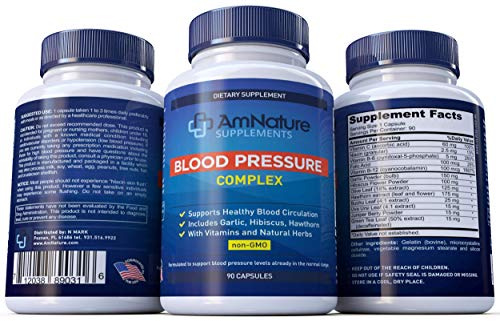 Blood Pressure Complex Supplement - Naturally Reduce Blood Pressure with Vitamins and Natural Herbs - 90 Capsules by AmNature Supplements