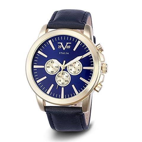 MENS V19.69 ITALIA VM1132 WATCH; GOLD CASE, DECORATIVE SUBDIALS, BLUE DIAL, BLACK STRAP (Gold Versus Watches For Men)