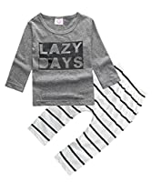 ZhuanNian Baby Boys Striped Long Sleeve Tops Sweatsuit Pants Leggings Outfit Set 6-12months