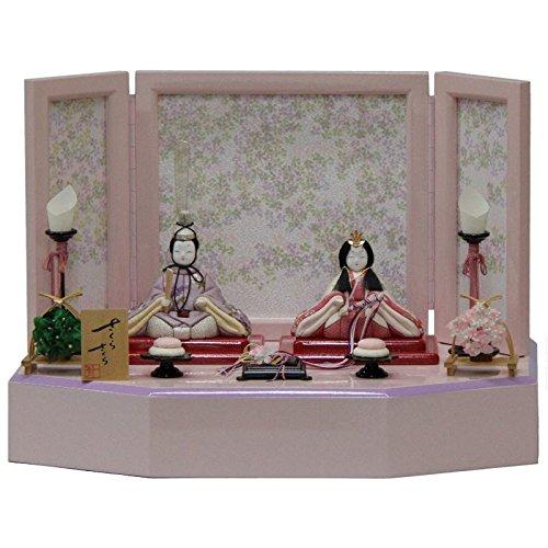 雛人形 アウトレット品 平飾り木目込み親王 さくらさくら2号C-128 幅45cm 3mk39 一秀 ピンクのお雛様   B075GJFS4M