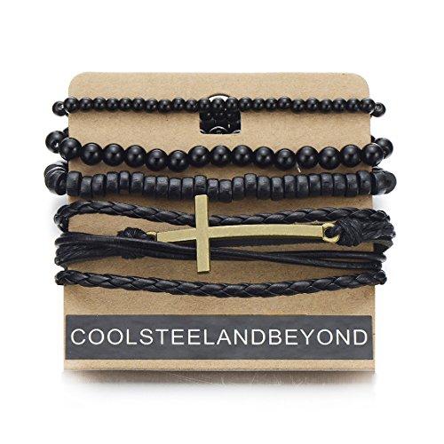 COOLSTEELANDBEYOND Mix of 4 Black Brown Wrap Bracelets for Men Women, Multi-Strand Wood Beads Leather Wristbands