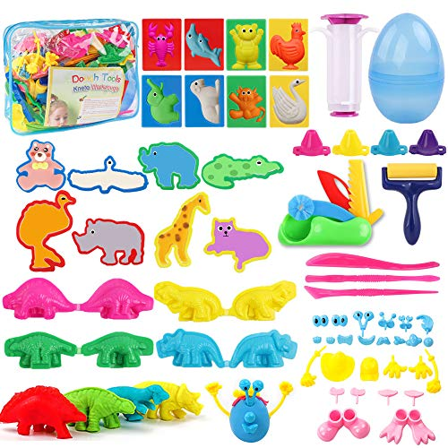 HOLICOLOR 56 Pcs Clay Dough Tools Dough Play Set with Animal Shape Cutters and Molds, Extruder Tools, Dough Accessories for Kids Party Gift School Prizes