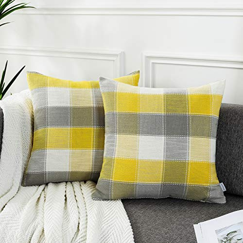 AmHoo Pack of 2 Farmhouse Plaid Check Throw Pillow Covers Set Case Cotton Linen Decorative Pillowcases Cushion Cover for Couch Bench Sofa,16x16inch,Yellow,2 Pieces (Gray Pillows And Yellow)