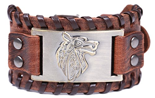 Lemegeton Viking Wolf Fenrir Braided Leather Bracelets for Men, Pagan Celtic Knot Vintage Jewelry (brown and antique bronze)