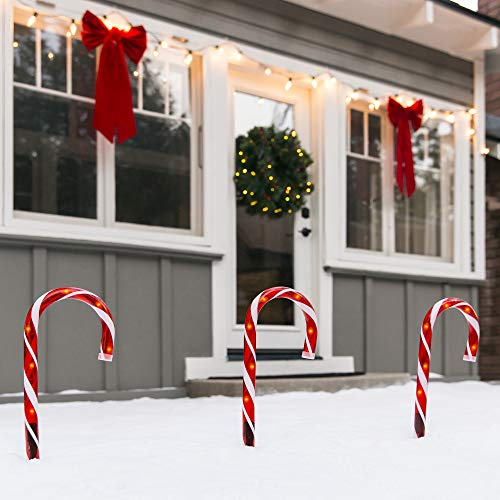 Best Choice Products Set of 10 15in Christmas Candy Cane Pathway Market Lights Holiday Decoration for Outdoor, Indoor w/ 25ft Total Length