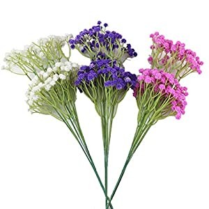 lasenersm 21 Pieces Artificial Baby's Breath Artificial Gypsophila Flowers Artificial Flowers DIY Home Garden Wedding Decoration White Pink Purple 9