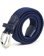 Elastische tailleband voor kinderen Elastische tailleband voor meisjes Jongens, dames Veelkleurige rubberen riem 2,5 cm breed en 80 cm lang met metalen ring