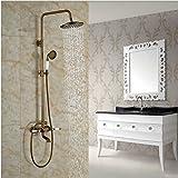 Gowe Newly Design Antique Brass Shower Faucet Double Handles Bath Rainfall Shower Mixer Tap Exposed
