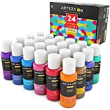 Arteza KIDS Premium Tempera Paint, Glitter, Metallic & Neon Colors Set of 24 (24 Colors x 2 oz each)