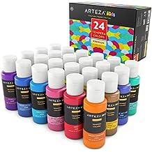 Arteza Kids Premium Tempera Paint Set, Flourescent, Glow in The Dark, Glitter, Metallic & Neon Colors (24 Colors x 2 oz Each)