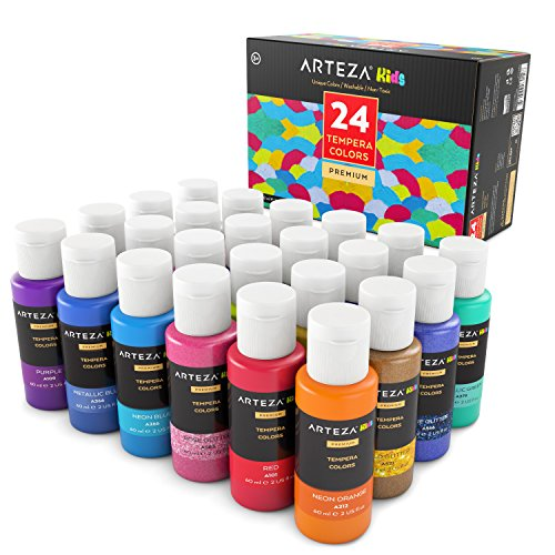 ARTEZA Kids Tempera Paint, Set of 24 Colors (24x2oz) Includes Flourescent, Glow in The Dark, Glitter, Metallic & Neon, Paints for Hobby Painters & Kids -