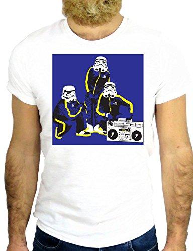 T SHIRT JODE Z2515 COOL STAR HIPSTER ROCK DANCE MUSIC WARS USA LONDON UK BREAK GGG24 BIANCA - WHITE S