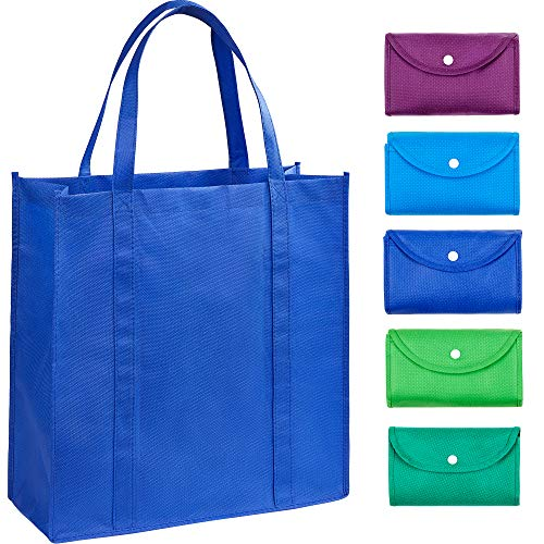 EXOBEST Grocery Bags Reusable Foldable for Shopping (set of 5), Foldable Into Pouch, Extra Large & Durable Heavy Duty Shopping Totes, Washable, Long Handles & Eco Friendly Reusable Shopping Bags (Lose The Clutter Lose The Weight Reviews)