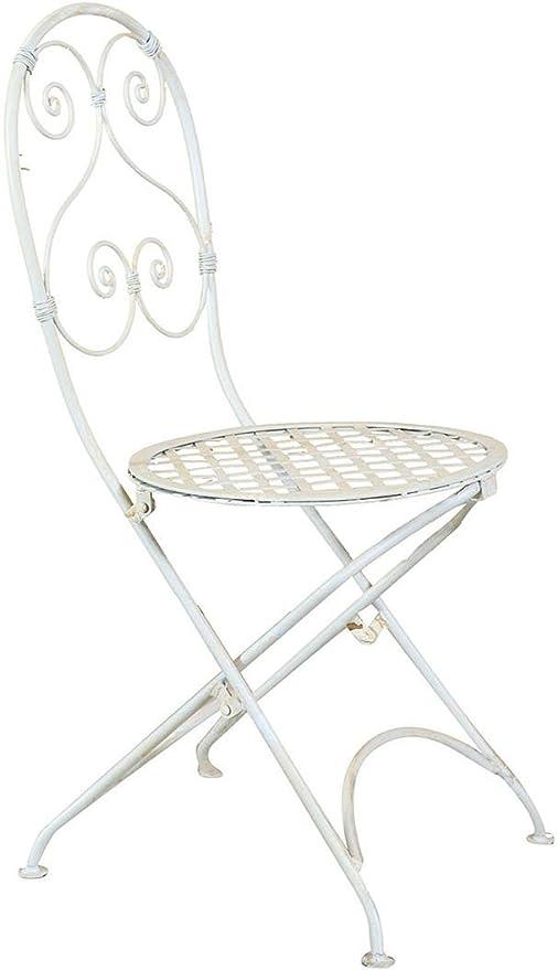 Conjunto de 2 sillas plegables en forja pineo acabado blanco ...