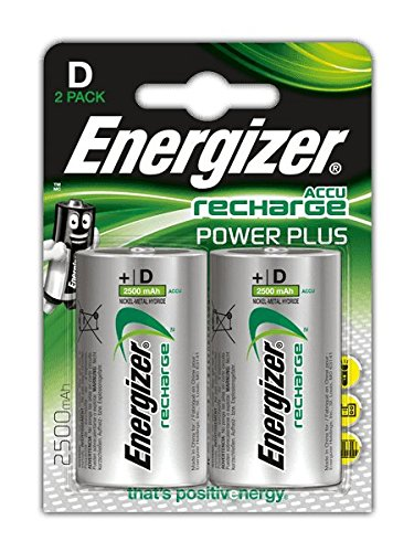 Energizer Recharge Power Plus Rechargeable D Batteries, 2 Pack