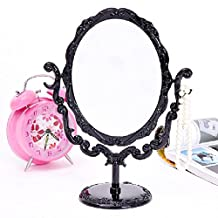 Makeup Desktop Rotatable Gothic Small Size Rose Stand Compact Mirror Black Butterfly espelho