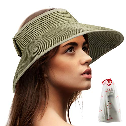 Roll Up Hat Straw Visors - Green Hat Women Wide Brim Floppy Sun Protection Hat