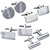 JOVIVI 4Pairs Stainless Steel Mens Classic Modern Ornate Pattern Style Dress Shirt Cufflinks Mix Design Set (Grey)