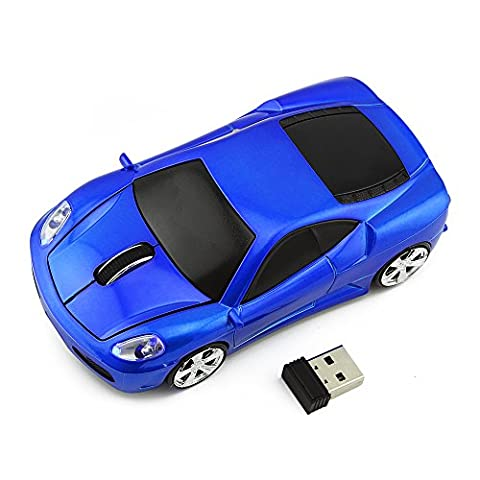 Usbkingdom 2.4GHz Sport Car Shape Optical Wireless Mouse Car Mouse with USB Receiver for PC Laptop Computer - Cordless Desktop Optical
