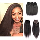 Shengqi Hair Kinky Straight Lace Closure Free Part with Baby Hair Bleached Knots Full Lace Piece Malaysian Virgin Yaki Human Hair Bundles with Lace Closure (12 14 16 +10) Review