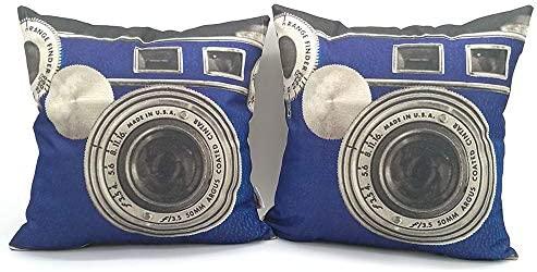YNester 2PCS fundas de almohada cámara retro, de lino decorativas funda de cojín, con cremallera oculta para el hogar, sala de estar, dormitorio, ...