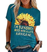 Ofenbuy Women's Cute Sunflower Graphic T Shirts Letter Print Short Sleeve O Neck Summer Casual Co...