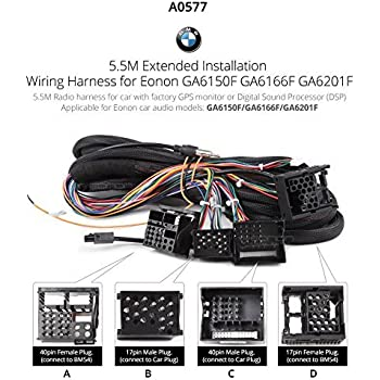 514D3d GdJL._SL500_AC_SS350_ amazon com eonon a0577 extended installation wiring harness for,Wiring Harness Bmw Cable 40 Pin Extended Installation