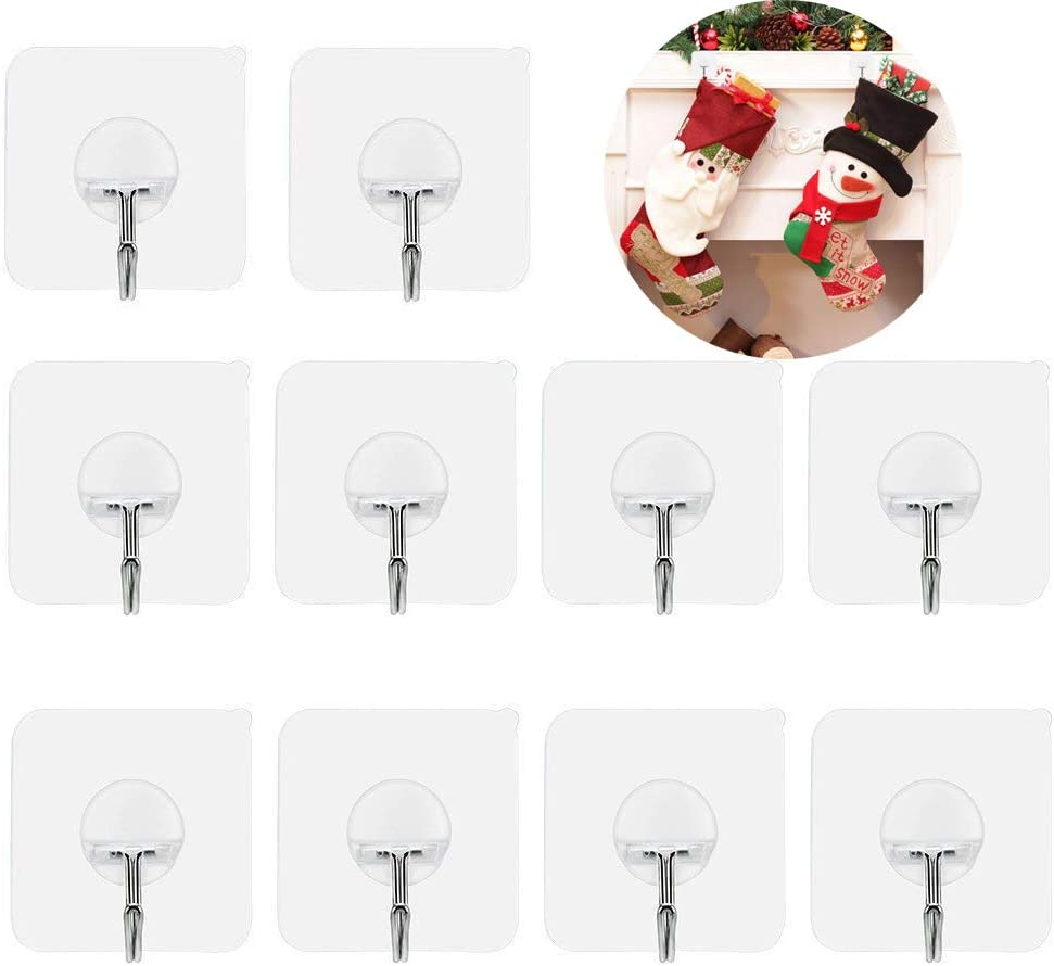 Adheisve Hooks Wall Hangers Without Nails Heavy Duty 15lb(Max) Transparent Seamless Adheisve Wreath Hanger Hook Reusable 180 Degree Rotating Waterproof and Oilproof-Bathroom Kitchen Hooks-10 Pack