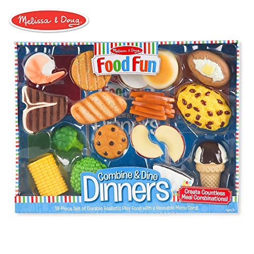 (Melissa & Doug Food Fun Combine & Dine Dinners Toy, Blue )