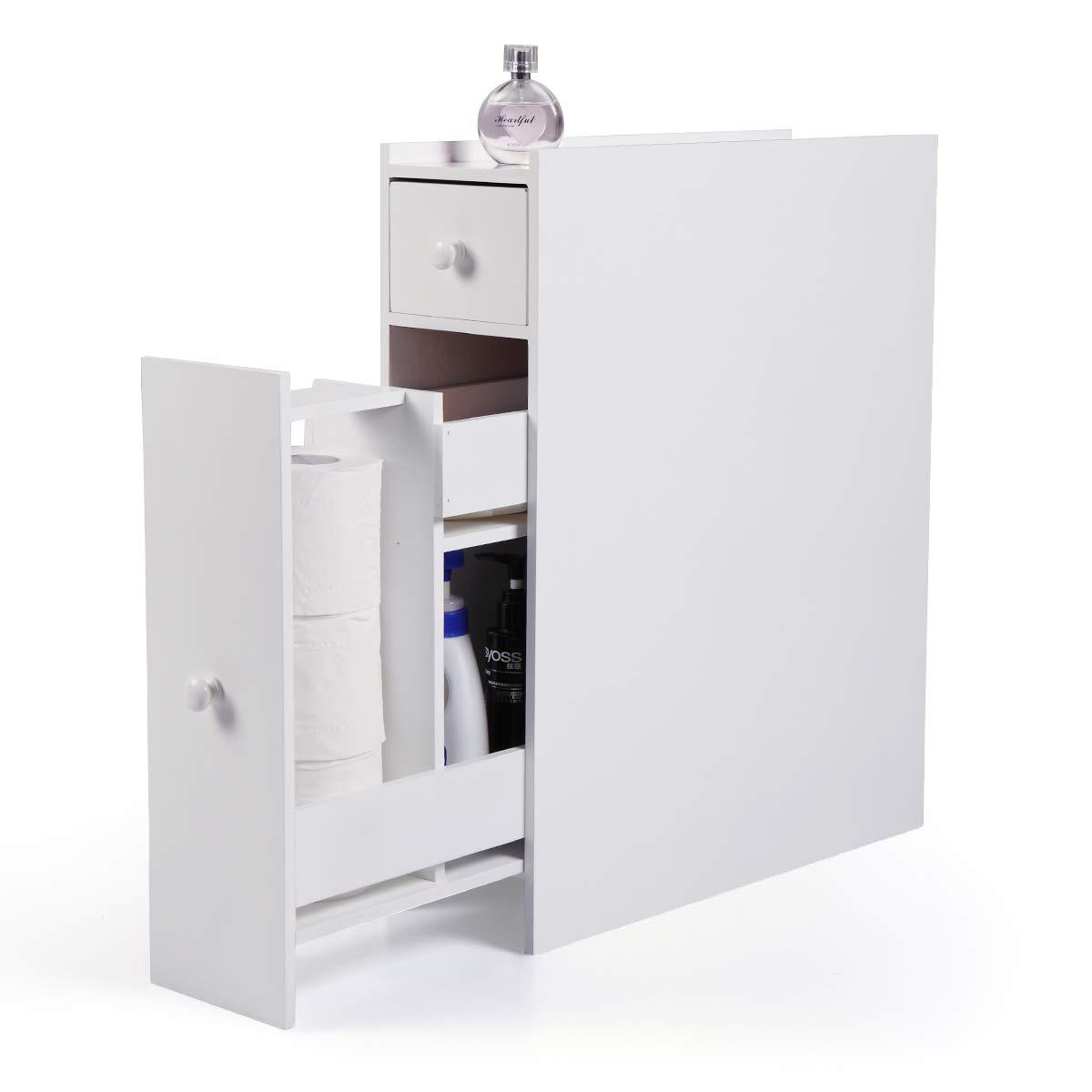BWM.Co Bathroom Storage Cupboard Cabinet Storage Drawer White Wooden Standing Toilet Rack Organizer by BWM.Co