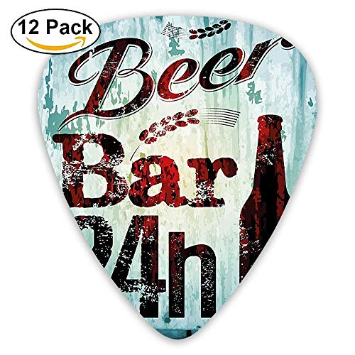 Grunge Beer Bar 24h Figure Old Pub Sign Emblem Restaurant Graphic Guitar Picks 12/Pack Set