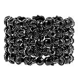 YACQ Jewelry Goth Skull Skeleton Stacket Crystal Stretch Sleeve Cuff Bracelet Gifts for Women Biker…